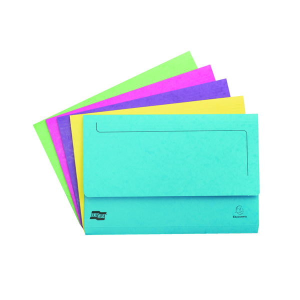 Exacompta Europa Pocket Wallet Foolscap Assorted C (Pack of 25) 3156Z