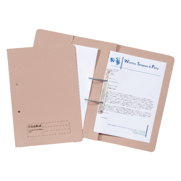Guildhall Transfer Spiral Pocket File 315gsm Foolscap Buff (Pack of 25) 349-BUF