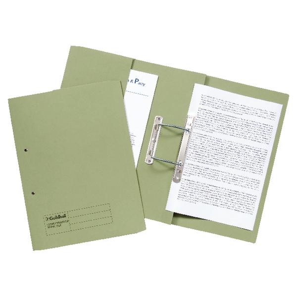 Guildhall Transfer Spiral Pocket File 315gsm Foolscap Green (Pack of 25) 349-GRN