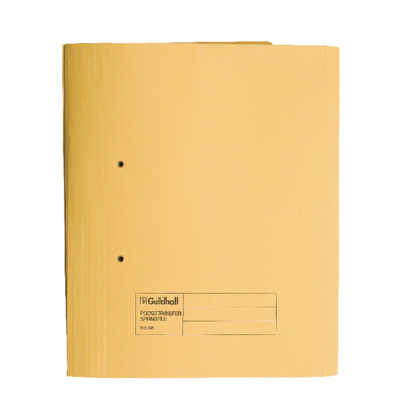 Guildhall Heavyweight Transfer Spiral Pocket File 420gsm Foolscap Yellow (Pack of 25) 211/6003