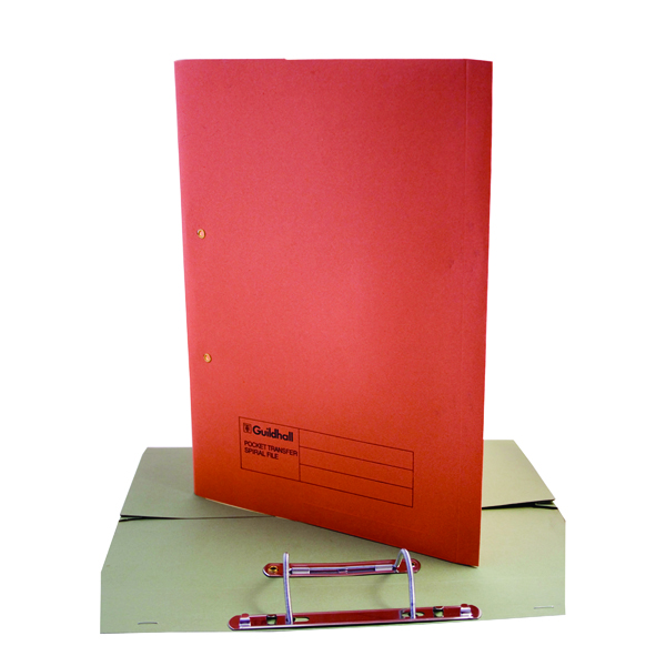Guildhall Heavyweight Transfer Spiral Pocket File 420gsm Foolscap Orange (Pack of 25) 211/6004