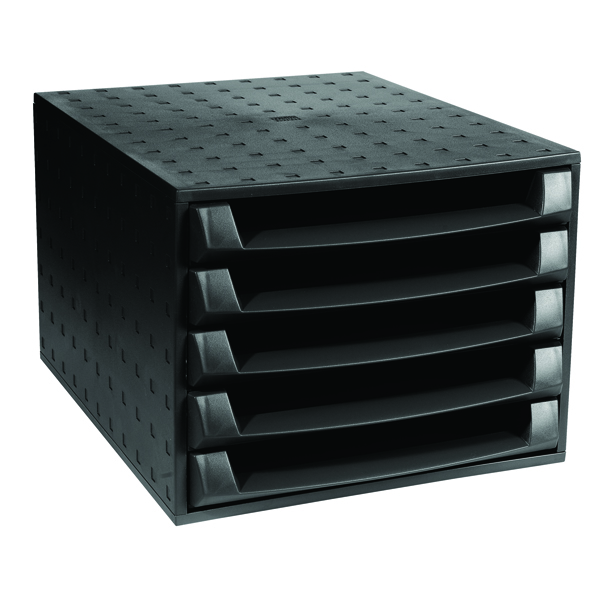 Forever 5 Drawer Set Black (W284 x D387 x H218mm) 221014D