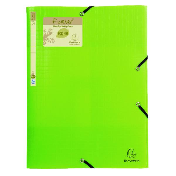 Exacompta Forever Elasticated 3 Flap Folder Lime (Pack of 15) 551573E