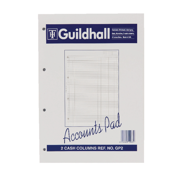 Image for Guildhall 2-Column A4 Cash Account Pad GP2