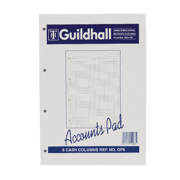 Image for Guildhall Account Pad 6-Column Cash A4 GP6