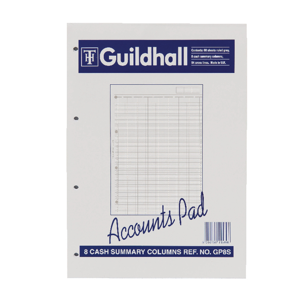 Image for Guildhall A4 Account Pad 8-Column GP8S