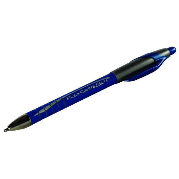 PaperMate Flexgrip Elite Retractable Ballpoint Pen Medium Blue (Pack of 12) S0767610