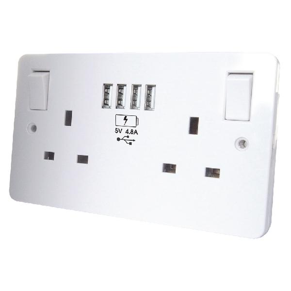 Connekt Gear USB Charging Wall Sockets 4 USB 4.8Amp combined 27-3048