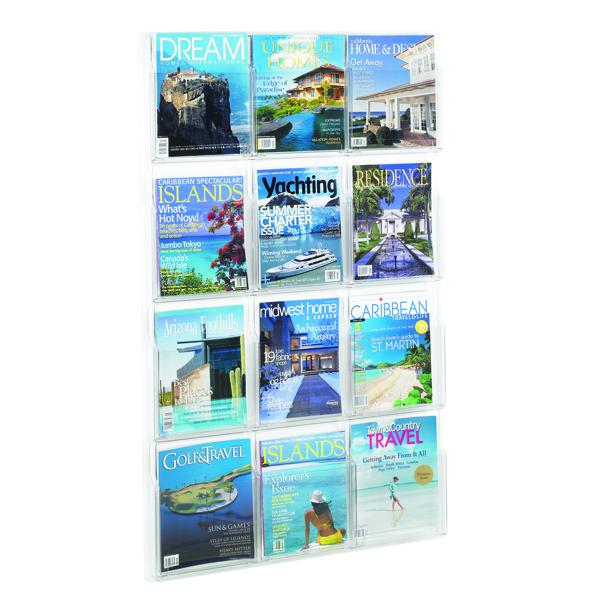 Safco 12 Pocket Deluxe Magazine Presenter (Dimensions: 762 x 51 x 1245mm) 5602CL