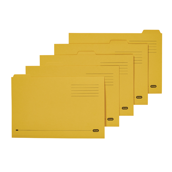 Elba Tabbed Folder Midweight 250gsm Foolscap Yellow (Pack of 100) 100090237