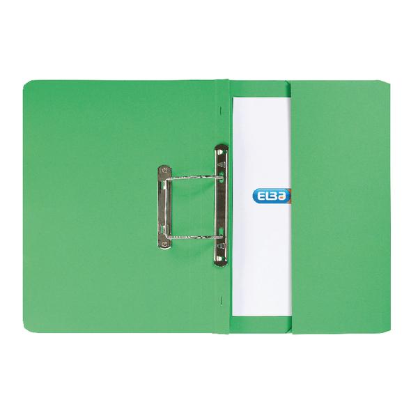 Elba Strongline Foolscap Green Spring Pocket File (Pack of 25) 100090147
