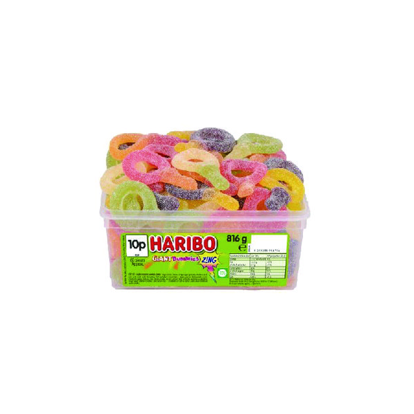 Haribo Giant Dummies Zing Tub (Approx. 60 sweets per tub) 13444
