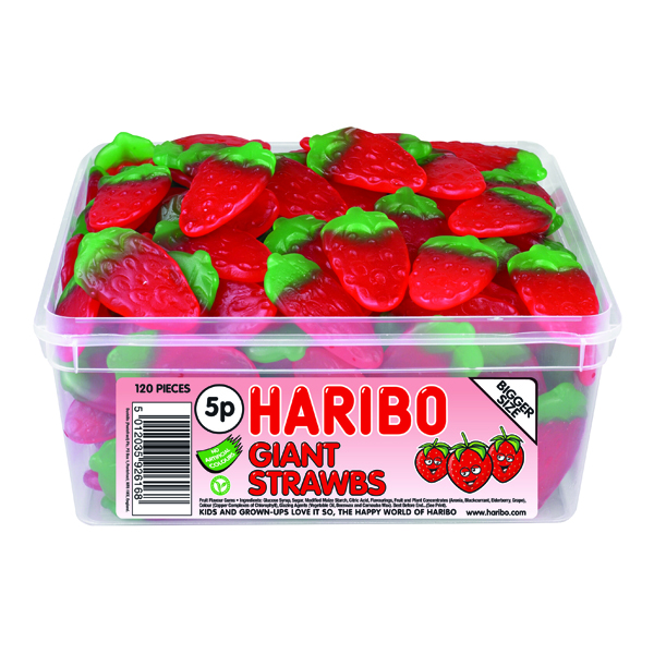 Haribo Giant Strawbs (120 Sweet) Drum 9547