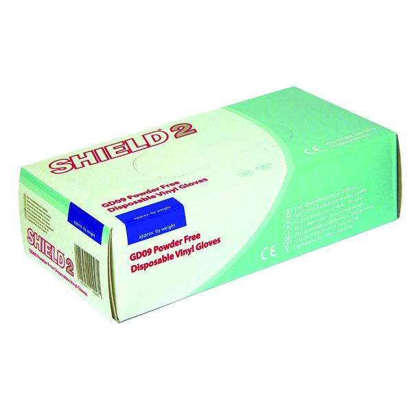 Shield Powder-Free Clear Vinyl Gloves Medium (Pack of 100) GD10