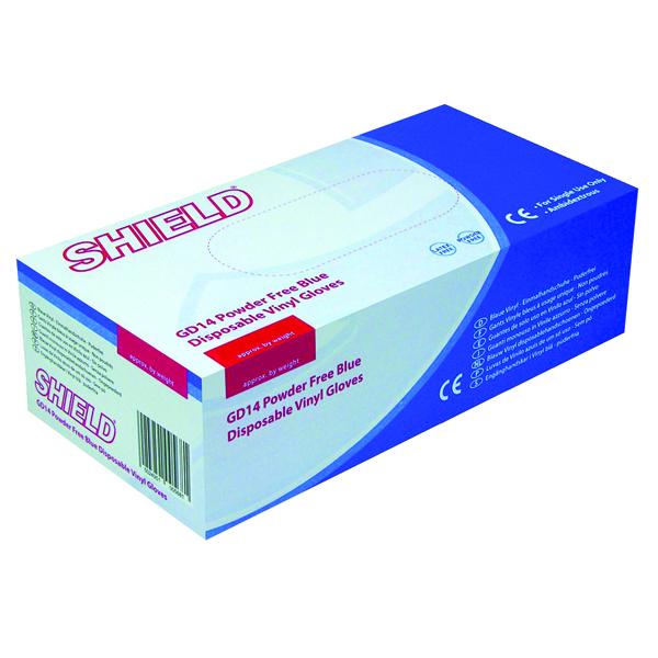 Shield Powder-Free Blue Large Vinyl Gloves (Pack of 100) GD14