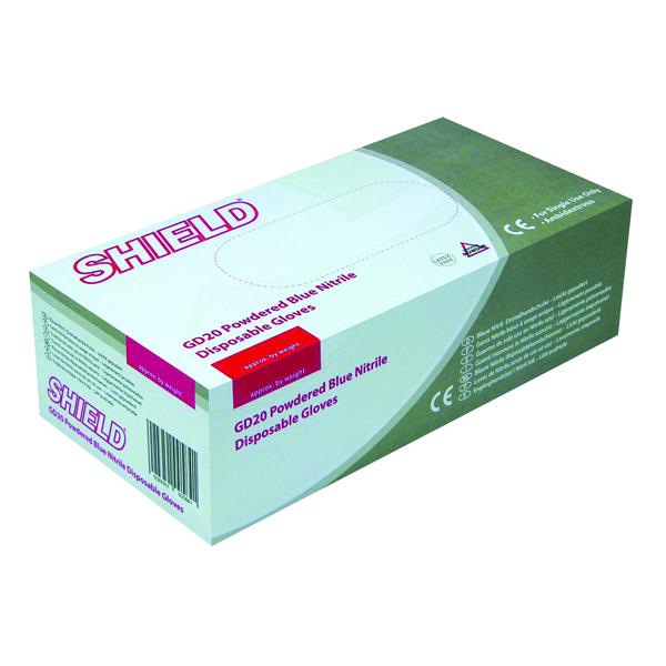 Shield Powdered Nitrile Blue Medium Gloves (Pack of 100) GD20