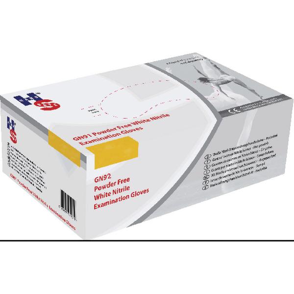 Image for HPC Healthline White Nitrile Examination Gloves Powder-Free Textured Medium (Pack of 200) GN92