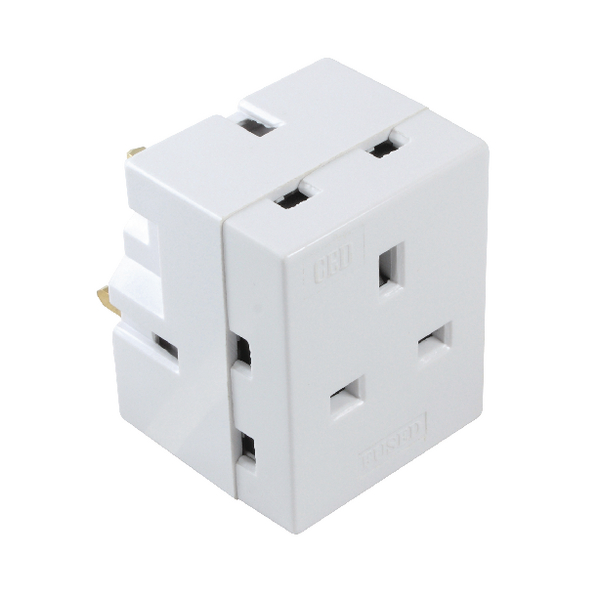 CED 3-Way Adaptor Fused 13 Amp White WAP3W