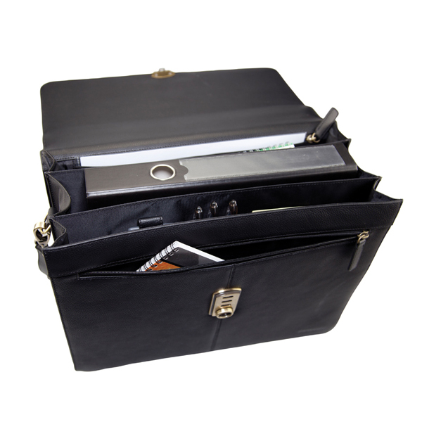 Monolith Leather Briefcase Black 3193