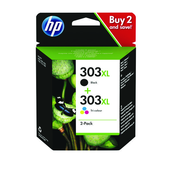 HP 303XL High Yield 2 Pack Tri-colour Black Original Ink Cartridge 3YN10AE