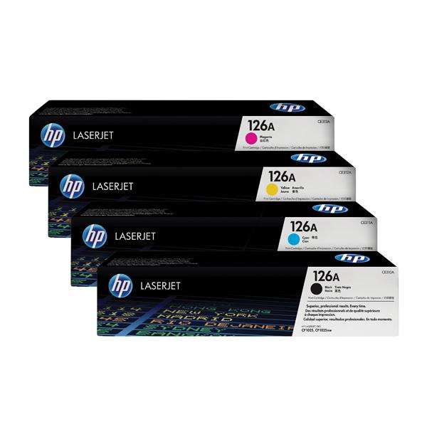 HP 126A Toner Cartridge Bundle Cyan/Magenta/Yellow/Black (Pack of 4)