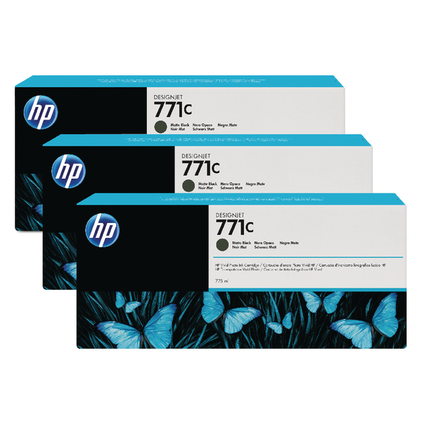 HP 771C Matte Black Designjet Ink Cartridge (Pack of 3) B6Y31A
