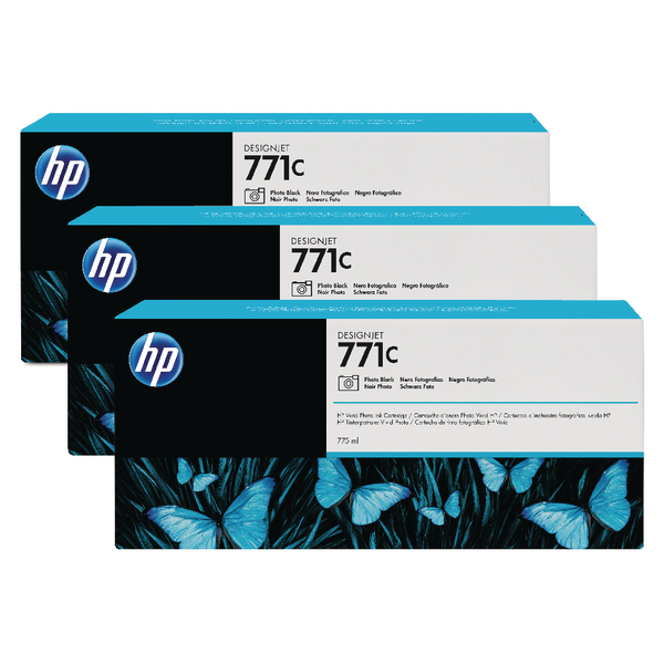 HP 771C Photo Black Designjet Ink Cartridge (Pack of 3) B6Y37A