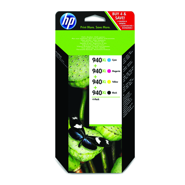 HP 940XL Black /Cyan/Magenta/Yellow High Yield Inkjet Cartridge (Pack of 4) C2N93AE