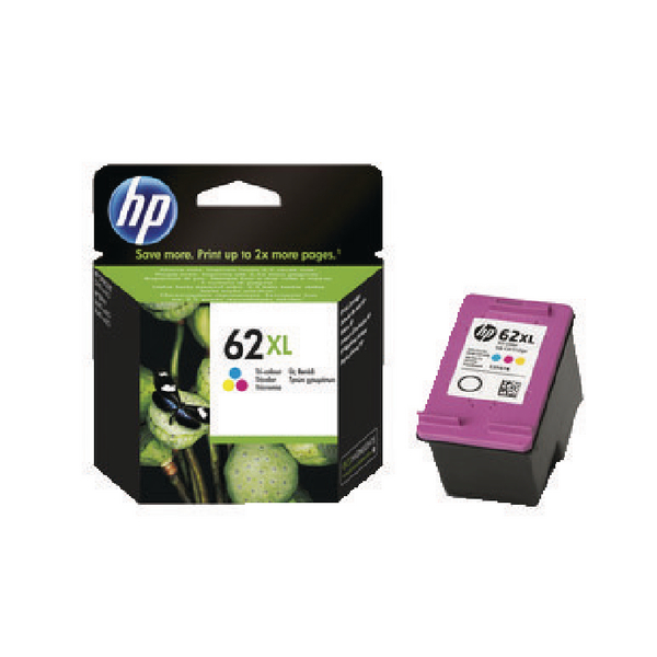 HP 62XL Cyan/Magenta/Yellow High Yield Ink Cartridge C2P07AE