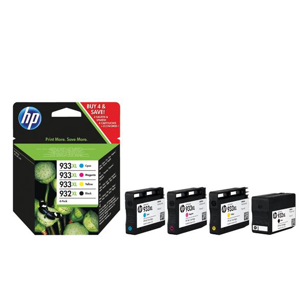 HP 932XL Black /933XL Cyan/Magenta/Yellow High Yield Ink Cartridges (Pack of 4) C2P42AE