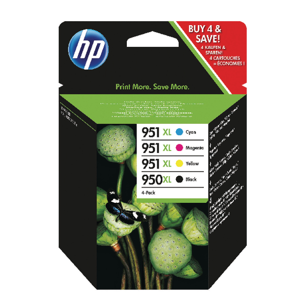 HP 950XL Black /951XL Cyan/Magenta/Yellow High Yield Ink Cartridges (Pack of 4) C2P43AE