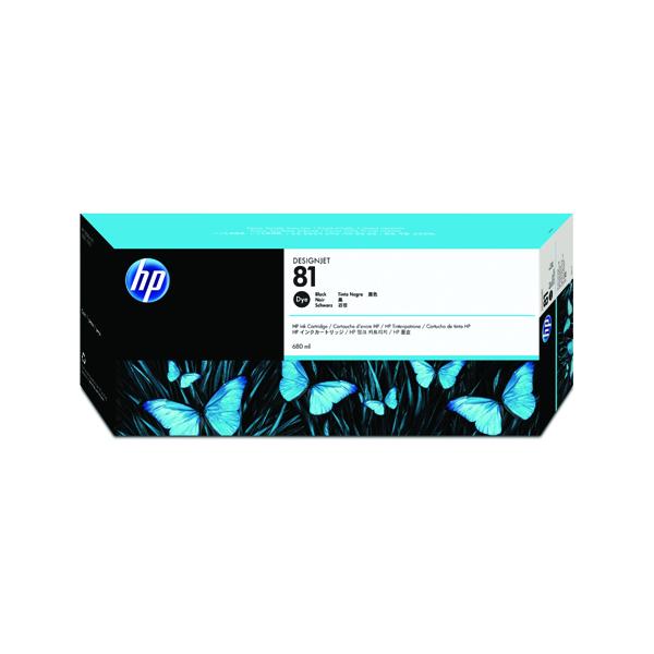 HP 81 Black Inkjet Cartridge Dye Ink C4930A
