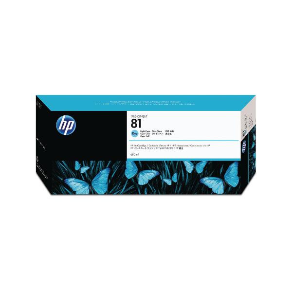 HP 81 Light Cyan Inkjet Cartridge Dye Ink C4934A