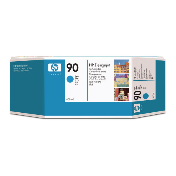 HP 90 Cyan Inkjet Cartridge (High Yield, 400ml Capacity) C5061A