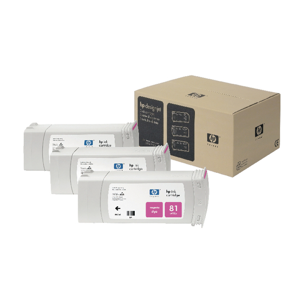 HP 81 Magenta DesignJet Dye Ink Cartridges (Pack of 3) C5068A