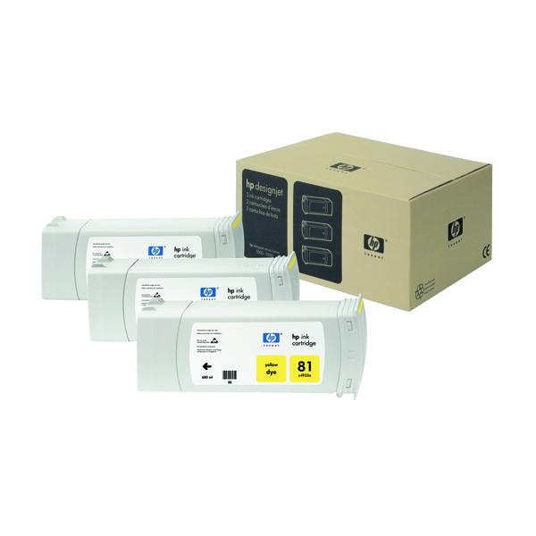 HP 81 Yellow DesignJet Dye Ink Cartridges (Pack of 3) C5069A