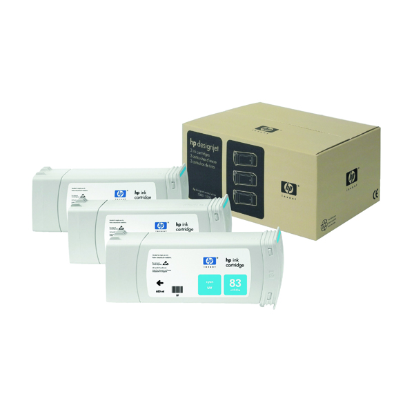 HP 83 Cyan DesignJet UV Ink Cartridges (Pack of 3) C5073A