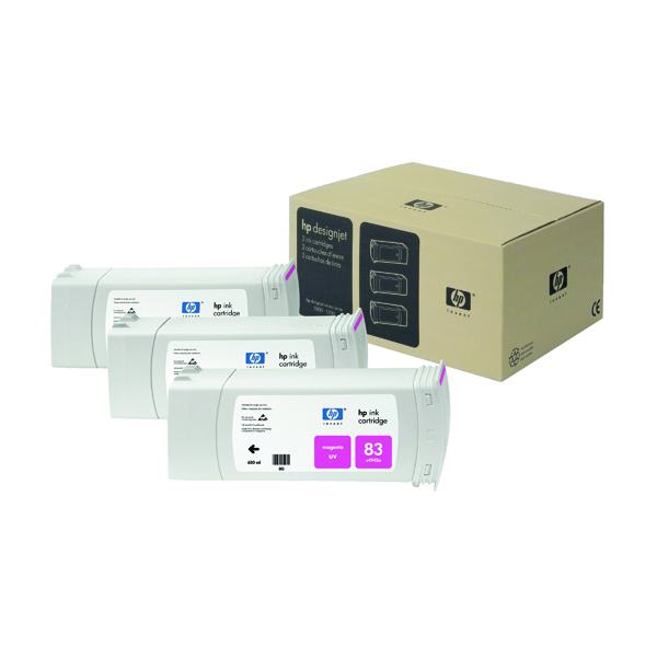 HP 83 Magenta DesignJet UV Ink Cartridges (Pack of 3) C5074A
