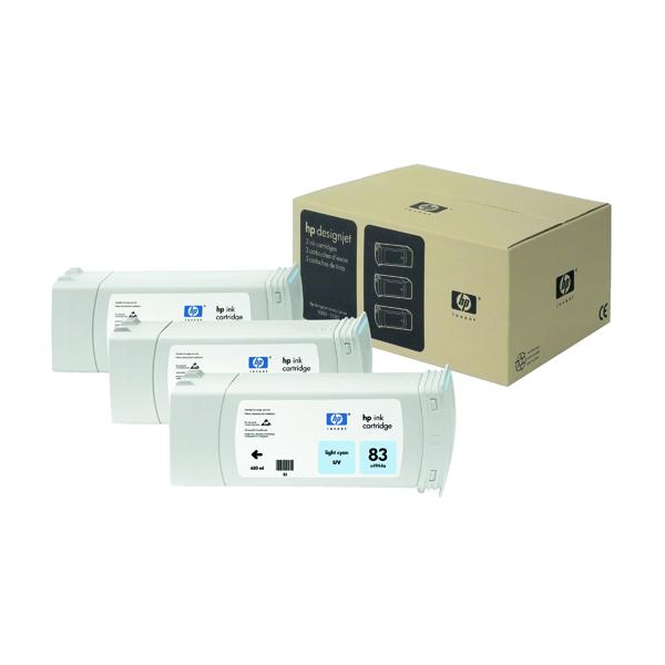 HP Light Cyan 83 UV Inkjet Print Cartridge (Pack of 3) C5076A