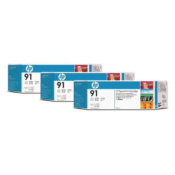HP 91 Light Grey Inkjet Cartridge (Pack of 3) C9482A