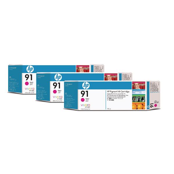 3 x HP 91 Magenta Inkjet Cartridge (Capacity: 130ml) C9484A