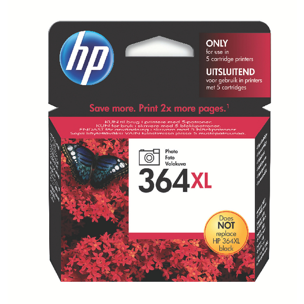 HP 364XL Photo High Yield Black Inkjet Cartridge CB322EE