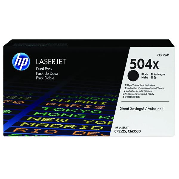 HP 504X Black High Yield Laserjet Toner Cartridge (Pack of 2) CE250XD