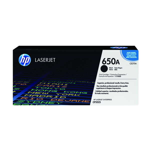 HP 650A Black Laserjet Toner Cartridge CE270A