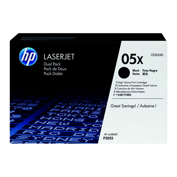 HP 05X Black Laserjet Toner Cartridge (Pack of 2) CE505XD