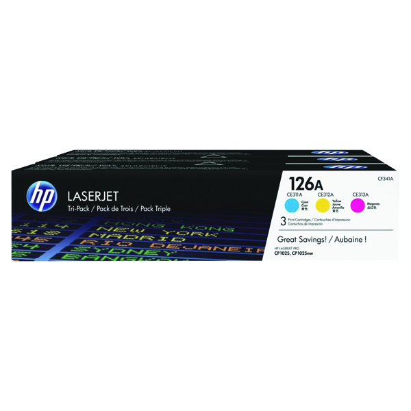 HP 126A Cyan/Magenta/Yellow Laserjet Toner Cartridge (Pack of 3) CF341A