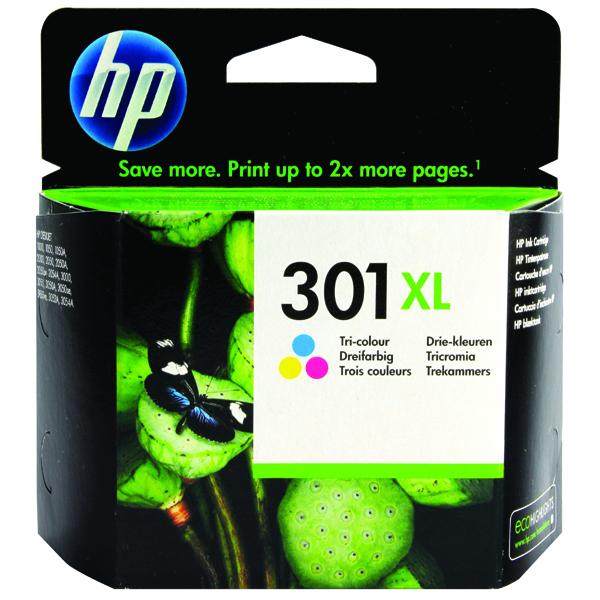 HP 301XL Cyan/Magenta/Yellow Ink Cartridge CH564EE