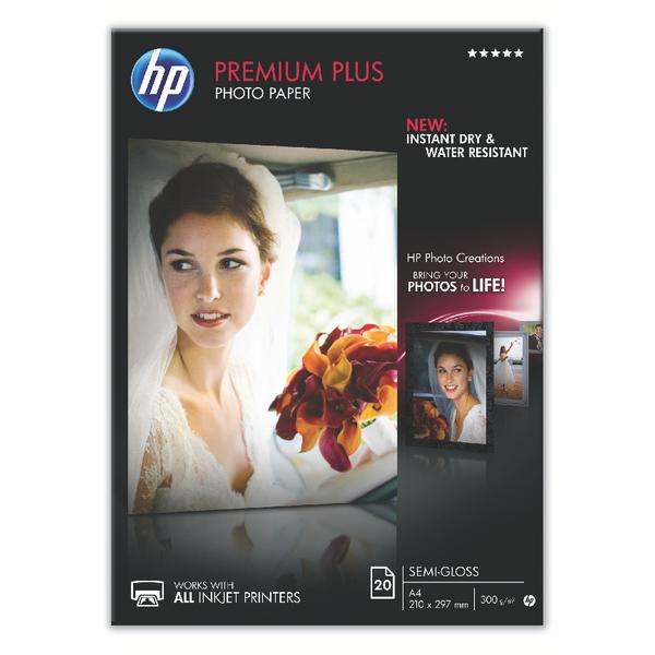 HP A4 White Premium Semi-Glossy Photo Paper (Pack of 20) CR673A