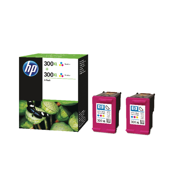 HP 300XL Cyan/Magenta/Yellow High Yield Inkjet Cartridge (Pack of 2) D8J44AE