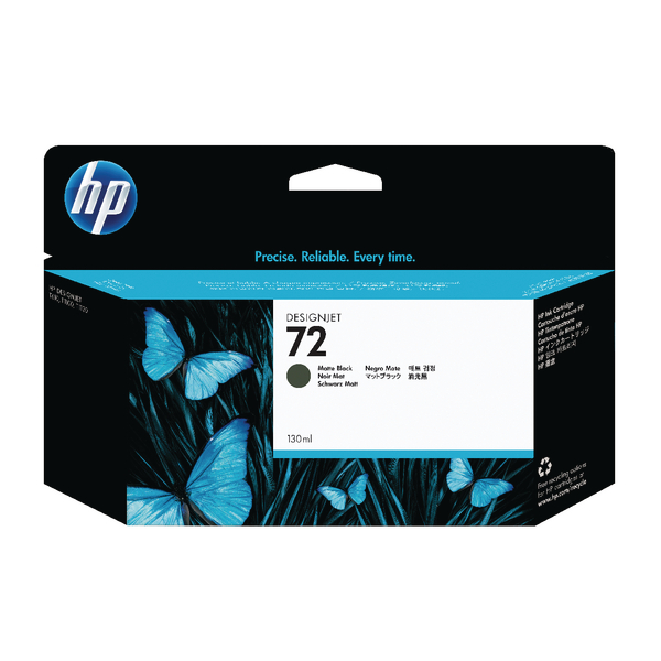 HP 72 Matte Black DesignJet Ink Cartridge 130ml (Pack of 2) P2V33A